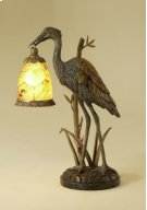 VERDIGRIS PATINA BRASS CRANE D ECORATIVE LAMP, PENSHELL ACCEN TS, WAXSTONE BASE Product Image
