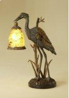 VERDIGRIS PATINA BRASS CRANE D ECORATIVE LAMP, PENSHELL ACCEN TS, WAXSTONE BASE Product Image