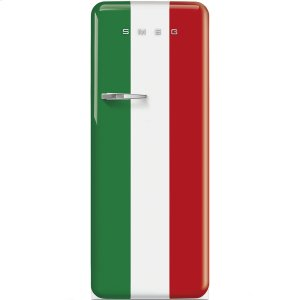 Smeg50'S Style Refrigerator with ice compartment, Italian Flag, Right hand hinge