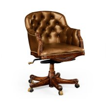 Chesterfield Style Mahogany Office Chair, Upholstered in Antique Chestnut Leather
