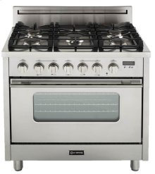 "High Gloss Black 36"" Gas Range with Convection Oven"