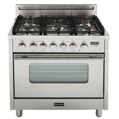 """Stainless Steel 36"""" Gas Range with Convection Oven"""