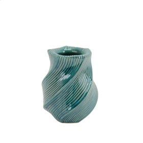 "Ceramic Vase W/ Wave Pattern 7.5"" Turquoise"