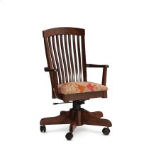 Justine Arm Desk Chair, Leather Cushion Seat