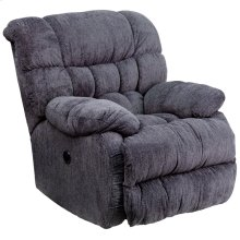 Contemporary Columbia Indigo Blue Microfiber Power Recliner with Push Button