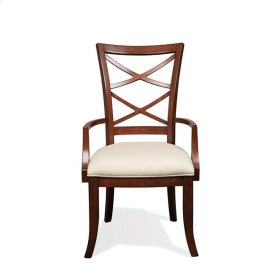 Windward Bay XX-Back Upholstered Seat Arm Chair Warm Rum finish