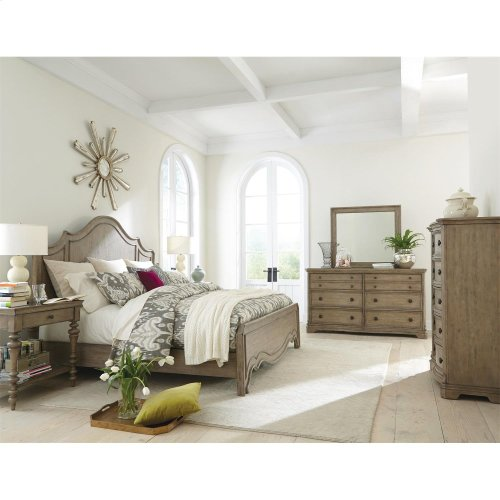 Corinne King Curved Panel Bed in Sun-drenched Acacia Finish