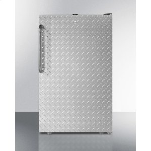 """SummitCommercially Listed 20"""" Wide Built-in Undercounter All-freezer, -20 C Capable With A Lock, Diamond Plate Door and Black Cabinet"""
