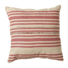 Vintage Red Stripe Fringed Pillow.