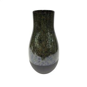 """Ceramic 13.5"""" Vase, Olive/black"""