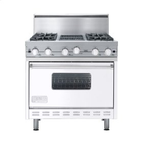 "White 36"" Open Burner Commercial Depth Range - VGRC (36"" wide, four burners 12"" wide char-grill)"