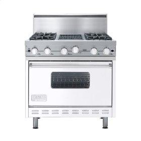 "White 36"" Open Burner Commercial Depth Range - VGRC (36"" wide, four burners 12"" wide char-grill)"