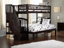 Westbrook Staircase Bunk Bed Twin over Full in Espresso