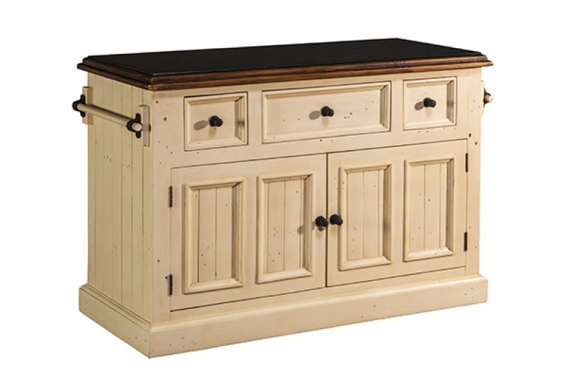 Tuscan Retreat® 3 Drawer 4 Door Large Granite Top Kitchen Island - Country  White With - 5465916W In By Hillsdale Furniture In Ivor, VA - Tuscan Retreat® 3