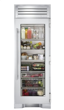 30 Inch Stainless Glass Refrigerator Column - Right Hinge Stainless Glass