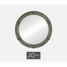 Antique Dark Grey Round Mirror
