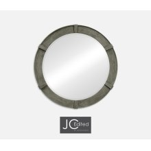 Antique Dark Grey Round Mirror
