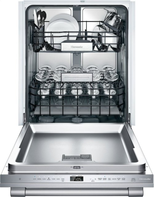 24-Inch Professional Stainless Steel Glass Care Center Professional Handle and Fully Flush Stainless Steel Panel 7 Programs and 7 Options