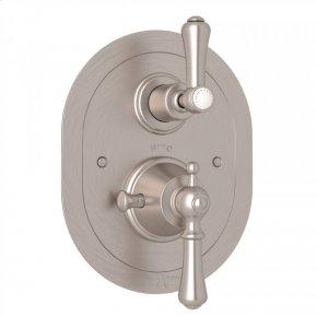 Satin Nickel Perrin & Rowe Georgian Era Oval Thermostatic Trim Plate With Volume Control with Georgian Era Solid Metal Lever