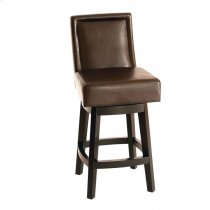 "Wayne Swivel Barstool In Brown Bonded Leather 26"" seat height Product Image"