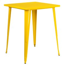 31.5'' Square Yellow Metal Indoor-Outdoor Bar Height Table