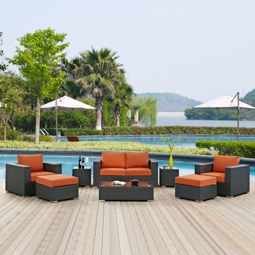 Sojourn 8 Piece Outdoor Patio Sunbrella® Sectional Set in Canvas Tuscan