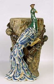 Attractive Majolica-style Vase Fashioned From A Peacock Perched On A Tree. Blue and Green Predominen