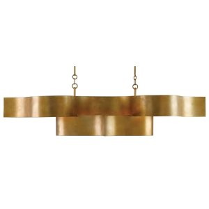 Grand Lotus Gold Oval Chandelier
