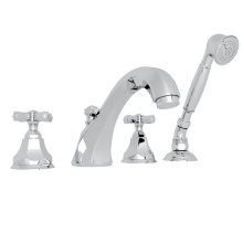 Polished Chrome Palladian 4-Hole Deck Mount Tub Filler With Handshower with Cross Handle