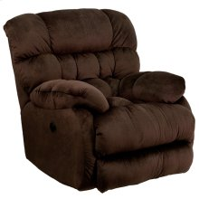 Contemporary Sharpei Chocolate Microfiber Power Recliner with Push Button and Thick Tufted Back