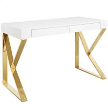 Adjacent Desk in White Gold