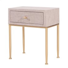 Ricci Raffia Pattern End Table 1 Drawer Brushed Gold Legs, Cream