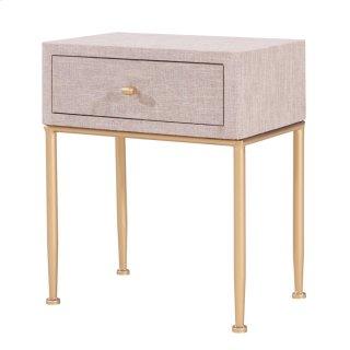 Ricci Raffia Pattern End Table 1 Drawer Brushed Gold Legs, Cream