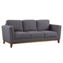 Armen Living Brussels Modern Sofa in Dark Gray Linen and Walnut Legs