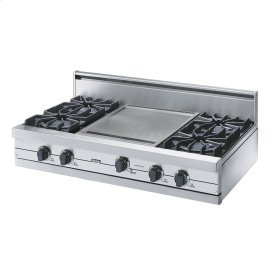 """Stainless Steel 42"""" Open Burner Rangetop - VGRT (42"""" wide, four burners 18"""" wide griddle/simmer plate)"""