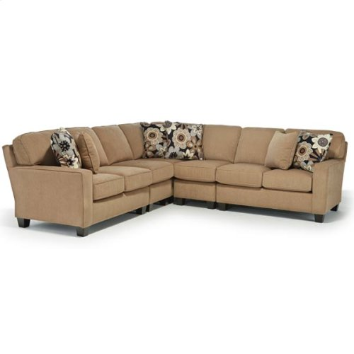 ANNABEL 5PC Stationary Sectional  Sofa w/Track Arm