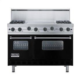 """Black 48"""" Sealed Burner Range - VGIC (48"""" wide, four burners 24"""" wide griddle/simmer plate)"""