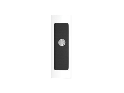 Rectangle Flush Pull - Release Recess Leather In Black Tea And Bright Chrome