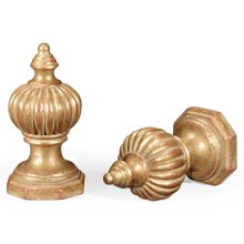 Pair of Gilded Rub-Through Finial Ornaments