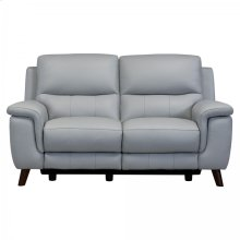 Lizette Contemporary Top Grain Leather Dove Grey Power Recliner Loveseat with USB