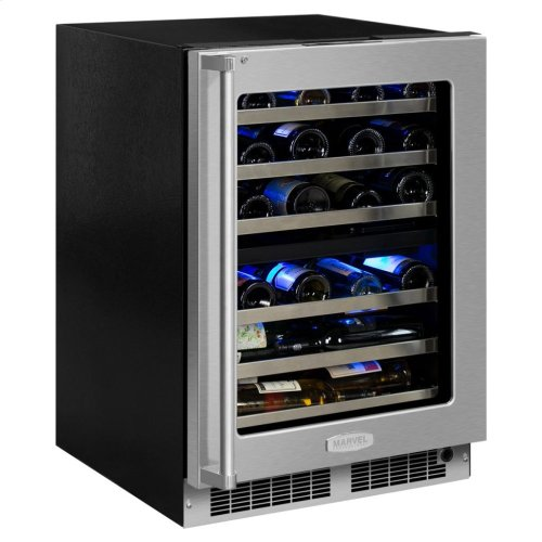 """Marvel Professional 24"""" High Efficiency Dual Zone Wine Refrigerator - Stainless Frame, Glass Door With Lock - Integrated Left Hinge, Professional Handle"""