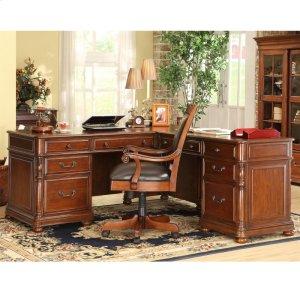 RiversideBristol Court - L Desk and Return - Cognac Cherry Finish