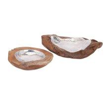 Abaco Teak and Aluminum Bowls - Set of 2