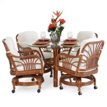 5500 Series 5 Piece Swivel Dining Set Pecan Glaze