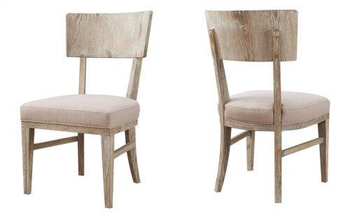 2-pack Side Chair Wood Back-sandstone Finish W/upholstered Seat Beige #d4029-3 Set Up