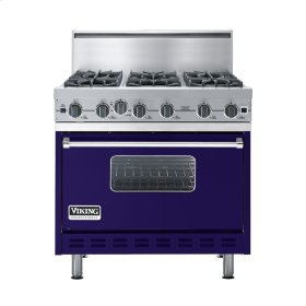 "Cobalt Blue 36"" Open Burner Commercial Depth Range - VGRC (36"" wide, six burners)"