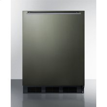 Built-in Undercounter Refrigerator-freezer for Residential Use, Cycle Defrost With Black Stainless Steel Wrapped Door, Horizontal Handle, and Black Cabinet