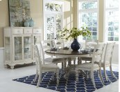 Pine Island Round 7 Piece Set With Ladder Back Chairs- Old White