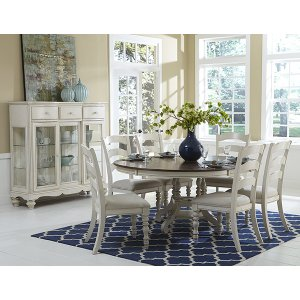 Hillsdale FurniturePine Island Round 7 Piece Set With Ladder Back Chairs- Old White