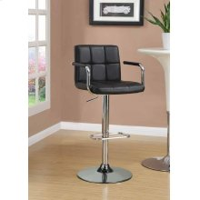 Contemporary Black and Chrome Adjustable Bar Stool With Arms
